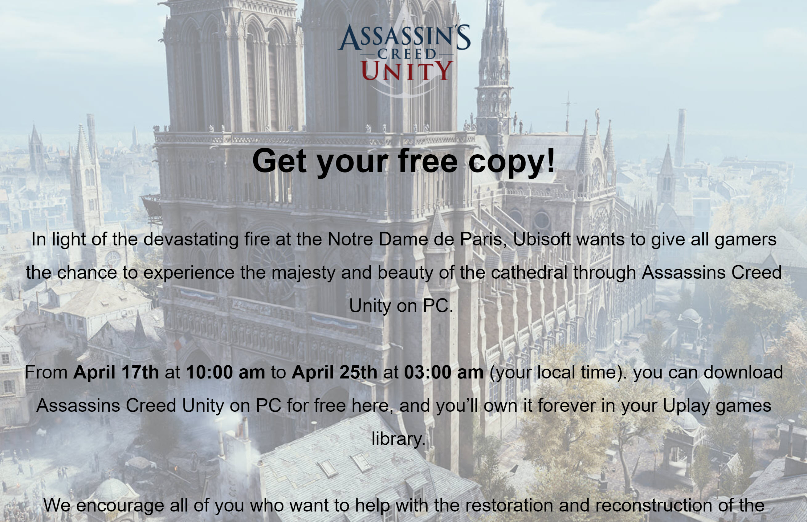 Gaming News Free Copy Of Assassin S Creed Get It Now The